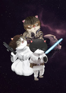 Star Wars Cats Galaxy Postcard