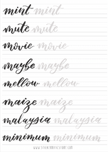 Load image into Gallery viewer, Brush Lettering Calligraphy Worksheets