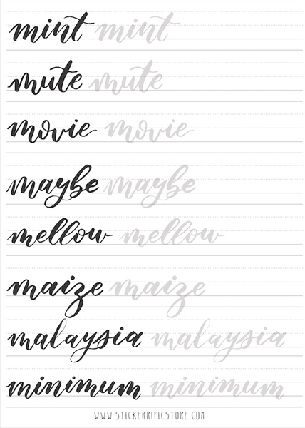 Brush lettering calligraphy worksheets stickerrific