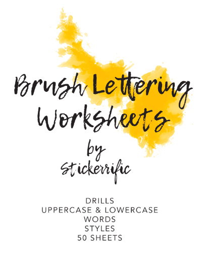 Brush Lettering Calligraphy Worksheets
