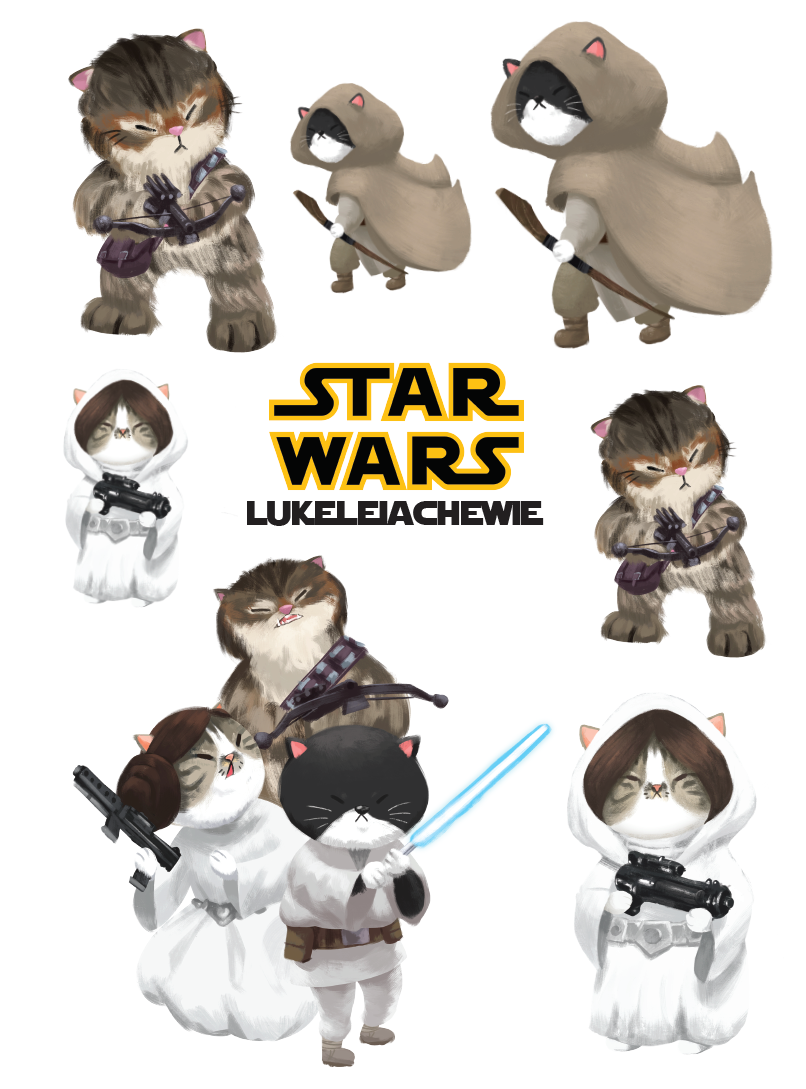 Star Wars: Luke, Leia and Chewie Stickers
