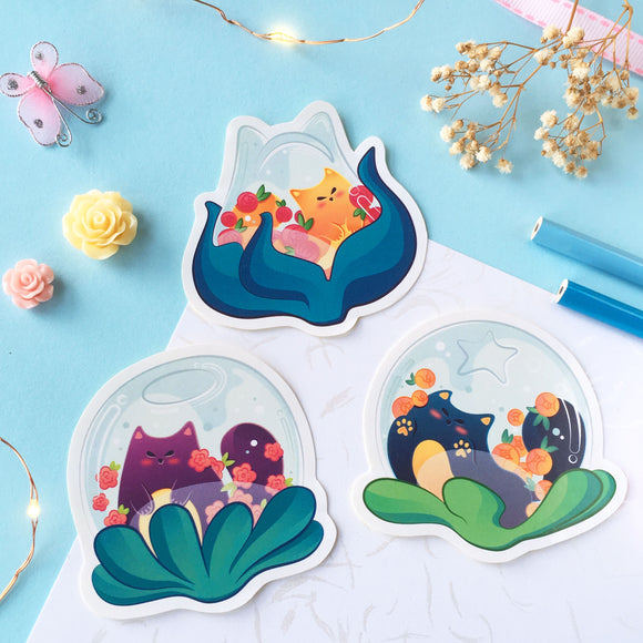 Glass Flower Terrarium Neko Sticker Pack