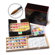 Load image into Gallery viewer, Artist's Palm Box Plus Watercolors in Half Pans (48)