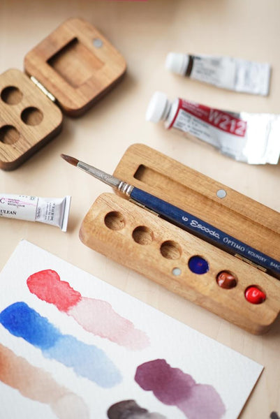 Handmade Wooden Watercolor Palette