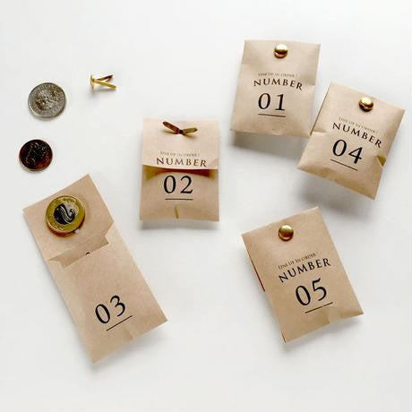 Mini Numbered Bags / Kraft