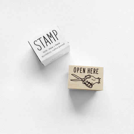 Open Here Stamp