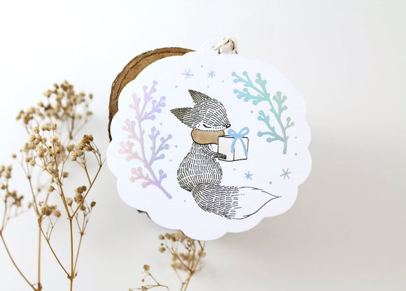 Whimsy Whimsical Fox & Christmas Gift Tags with Holographic Foil