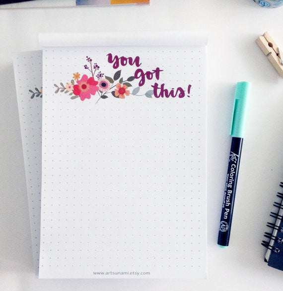 Artsunami You Got This Notepad Planner Organisation Stationery // 50 sheets