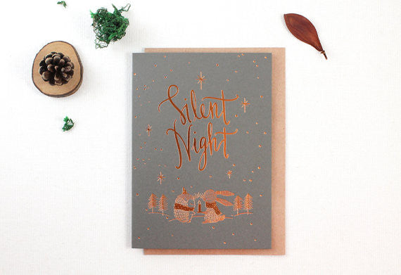 Whimsy Whimsical Christmas Greeting Card - Silent Night (Copper Foil)