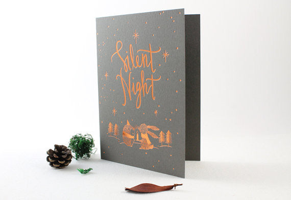 Christmas Greeting Card - Silent Night (Copper Foil)