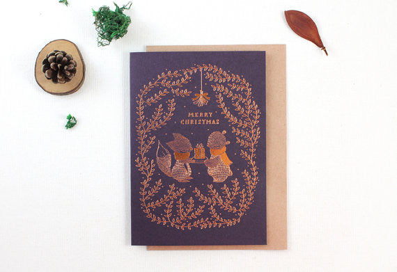 Christmas Card - Merry Christmas Copper Foil Greeting Card