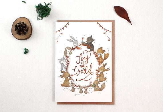 Christmas Card -Joy to The World Copper Foil Greeting Card