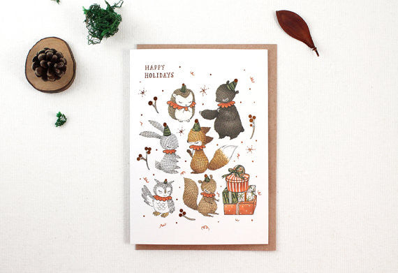 Christmas Card - Happy Holidays with Woodland Elves Copper Foil Greeting Card