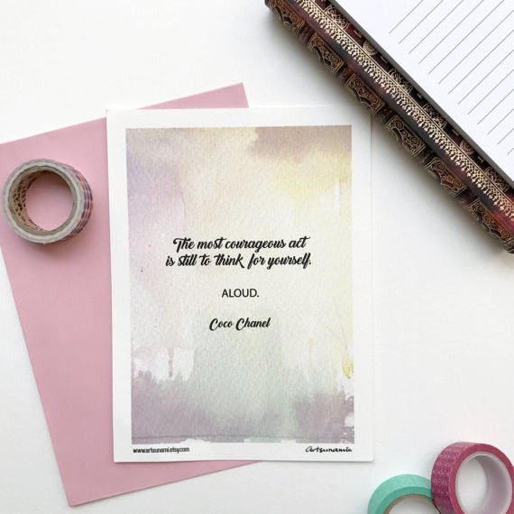 Coco Chanel Mini Print Motivational Quote Notecard