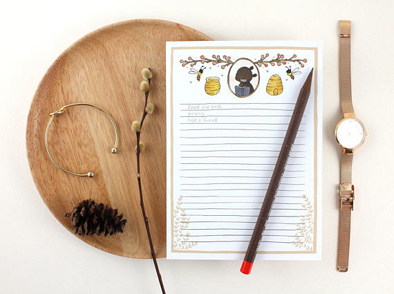 Whimsy Whimsical Notepad 1 | Bear and Honey Bee