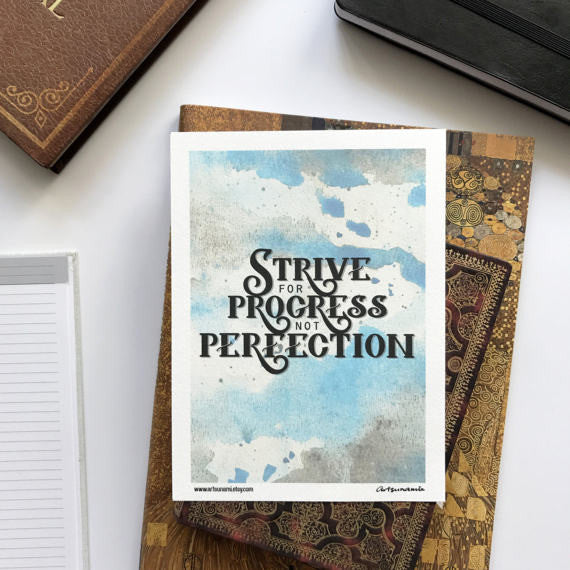 Strive for Progress Mini Print Handlettered Motivational Quote Notecard