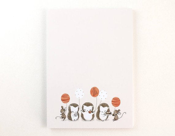 Whimsy Whimsical Notepad 5 | Hedgehogs & Mice