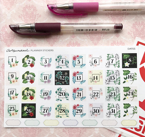Artsunami Planner Stickers //  Dates I