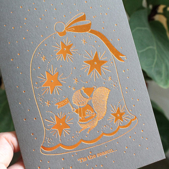Christmas Greeting Card - 'Tis The Season To Be Jolly (Copper Foil)