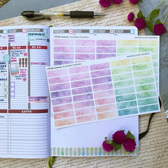 Artsunami Planner Stickers // Watercolor Headers