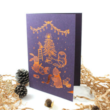 Load image into Gallery viewer, Whimsy Whimsical Christmas Greeting Card - Merry Merry Christmas (Copper Foil)