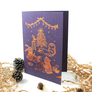 Whimsy Whimsical Christmas Greeting Card - Merry Merry Christmas (Copper Foil)