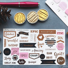 Load image into Gallery viewer, Artsunami Foiled Planner Stickers // Quotes 05