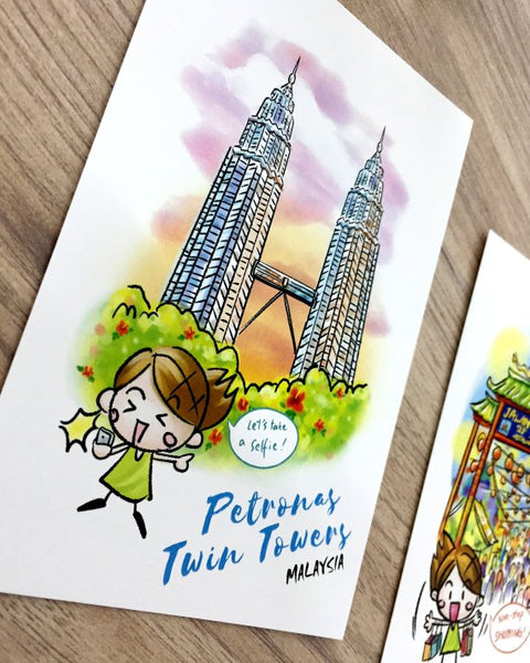 Malaysian Travel Postcard / Petronas Twin Towers