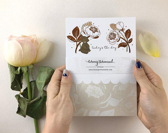 Whimsy Whimsical Notepad - Bear & David Austin Rose