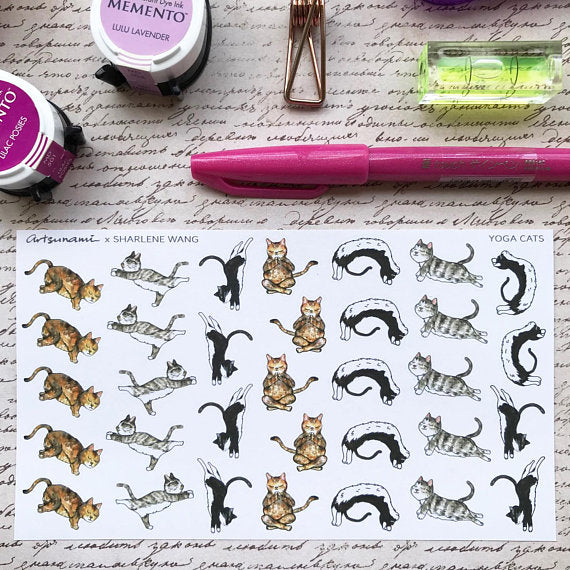 Artsunami Planner Stickers // Yoga Cats