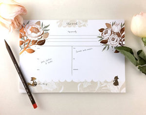 Whimsy Whimsical Weekly Planner - Bear, Fox & David Austin Rose