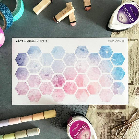 Artsunami Planner Stickers //  Watercolor Hexagon 02