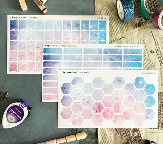 Artsunami Planner Stickers //  Watercolor Headers 02