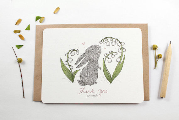 Thank You Very Much- Rabbit and Lily of the Valley Notecard Set