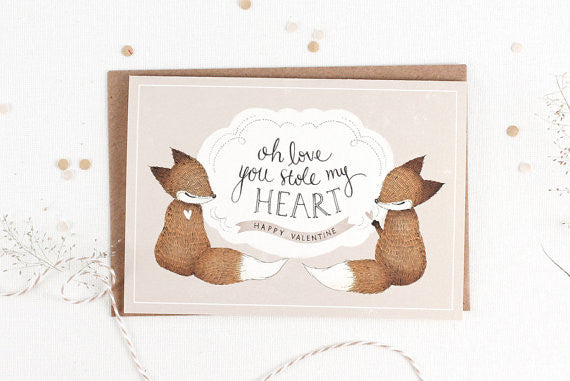 Valentine's Day Card - Oh Love, You Stole My Heart - Greeting Card