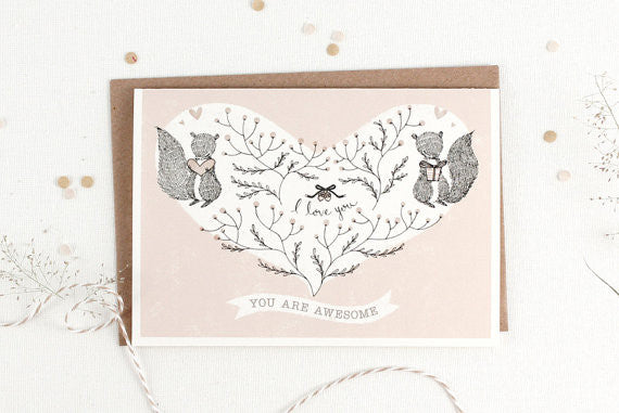 Valentine's Day Card - You Are Awesome - Greeting Card