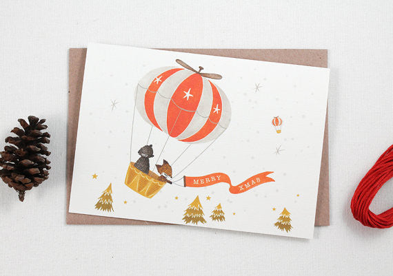 Whimsy Whimsical Christmas Greeting Card - Hot Air Balloon Merry Xmas