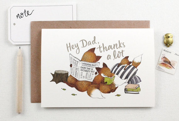 Whimsy Whimsical Father's Day Card - Hey Dad, Thanks a Lot - Greeting Card