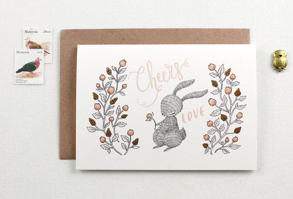 Cheers & Love, Rabbit - Greeting Card