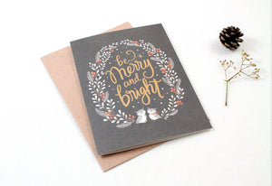 Whimsy Whimsical Christmas Greeting Card - Be Merry & Bright