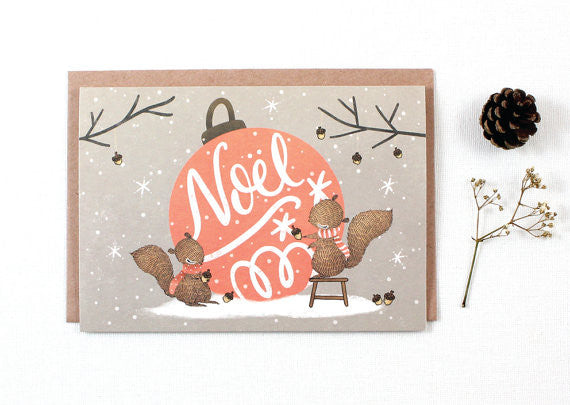 Whimsy Whimsical Christmas Greeting Card - Noel