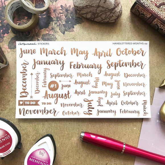 Artsunami Foiled Planner Stickers // Handlettered Months 02