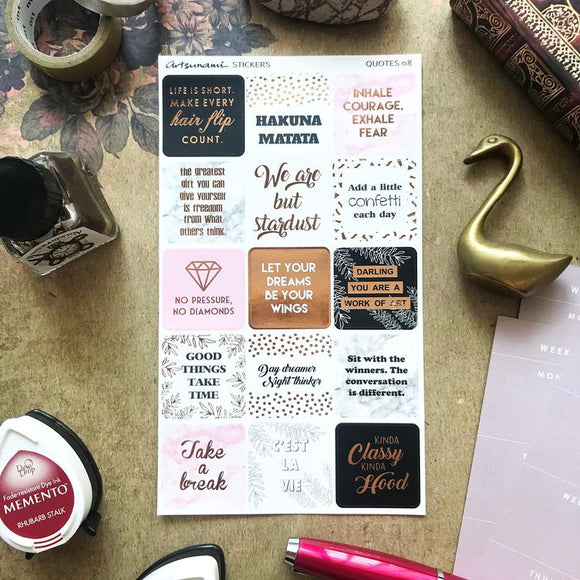 Artsunami Foiled Planner Stickers // Quotes 08
