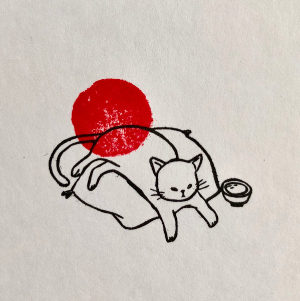 Cat Chilling on A Cushion Rubber Stamp