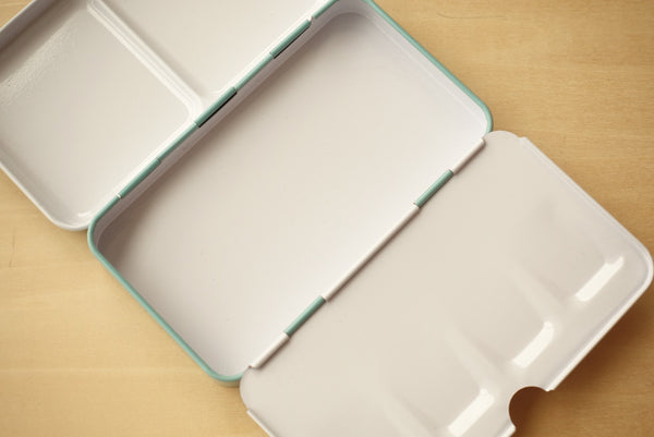 Enamel Metal Box for Watercolour with 12 Half Pans // Sea Green