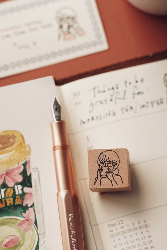 Morning Coffee Rubber Stamp