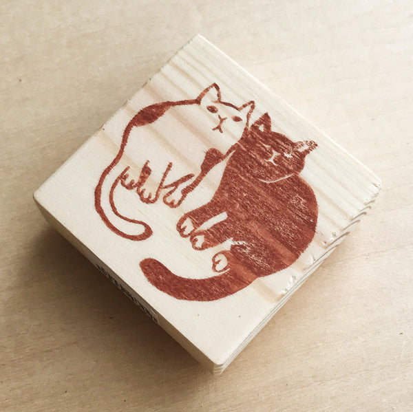 Twin Cats Rubber Stamp