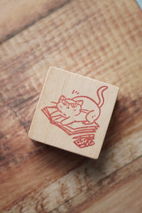 Cat on Notebook Rubber Stamp Large