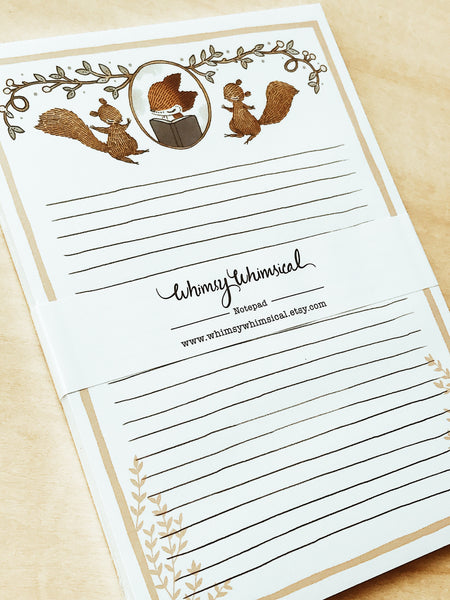 Whimsy Whimsical Notepad 2 | Fox & Squirrel