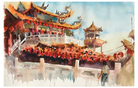 Plein Air at Thien Hou Temple Postcard by Brian Tai